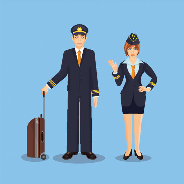 pilot mit braunen koffer und stewardess hand winken - rechtsassistent stock-grafiken, -clipart, -cartoons und -symbole