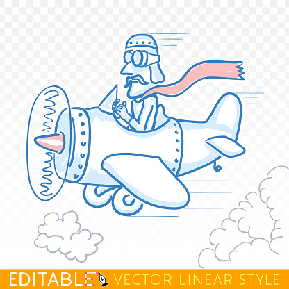Pilot with toy airplane against cloudy sky background. Editable sketch caricature in blue ink style. Hand drawn doodle vector illustration.