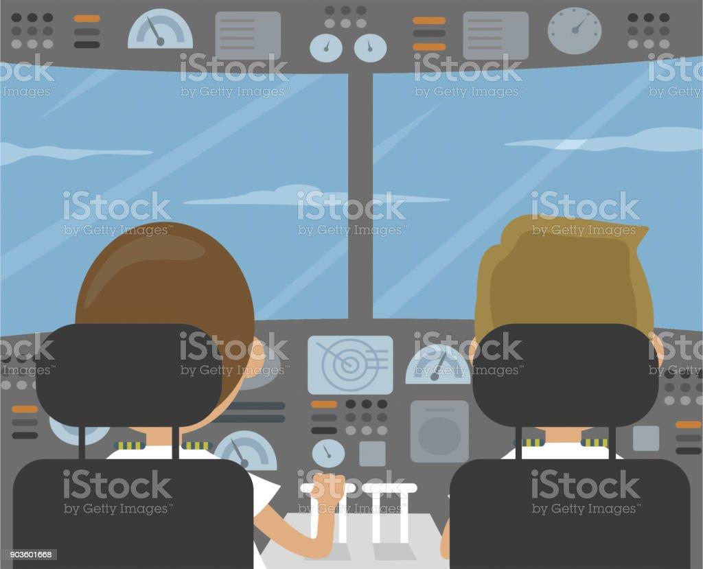 Pilots and cockpit vector illustration vector art illustration