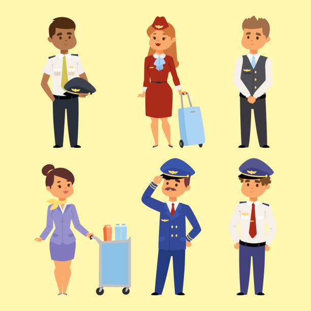 Pilots and stewardess vector illustration airline character plane personnel staff air hostess flight attendants people command Pilots and stewardess vector illustration airline character plane personnel staff air hostess flight attendants people command. Flight attendants captain professional pilots and stewardess. airport clipart stock illustrations