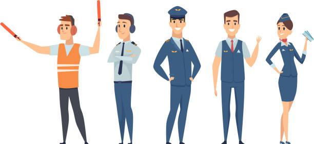 stockillustraties, clipart, cartoons en iconen met piloten. avia company personen bemanning piloten stewardess vliegtuig commando burgerluchtvaart vector tekens in cartoon stijl - stewardess