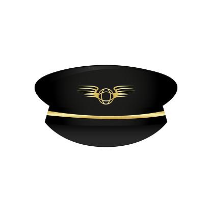 Pilot's hat icon. Captain hat. Pilot hat. Officer hat. Uniform. Occupation.