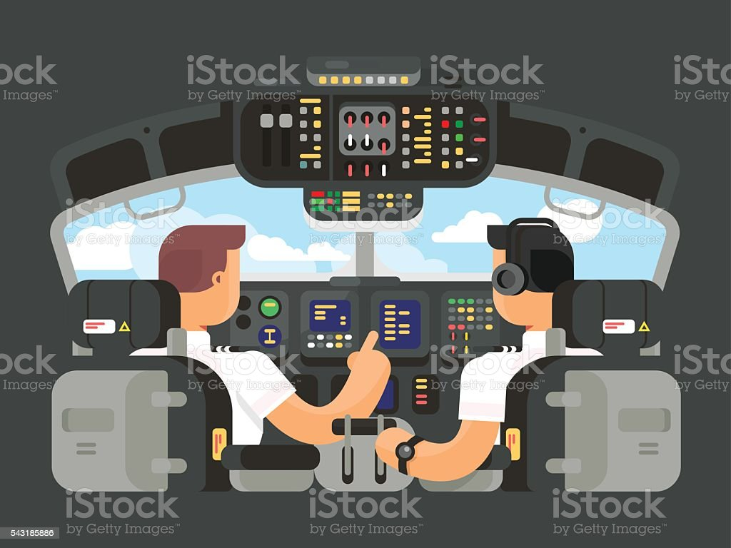 Pilots in cockpit flat design vector art illustration