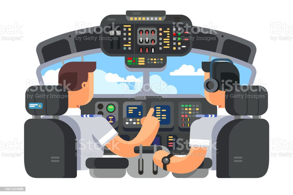 Pilots in cockpit plane flat design vector art illustration