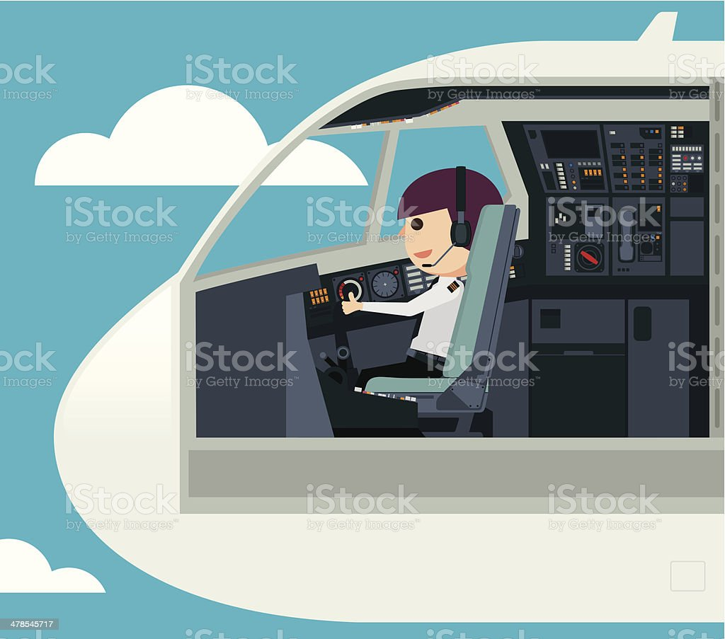Pilots in the cockpit - Illustration vector art illustration