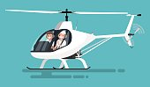 Pilots in the helicopter. Vector illustration