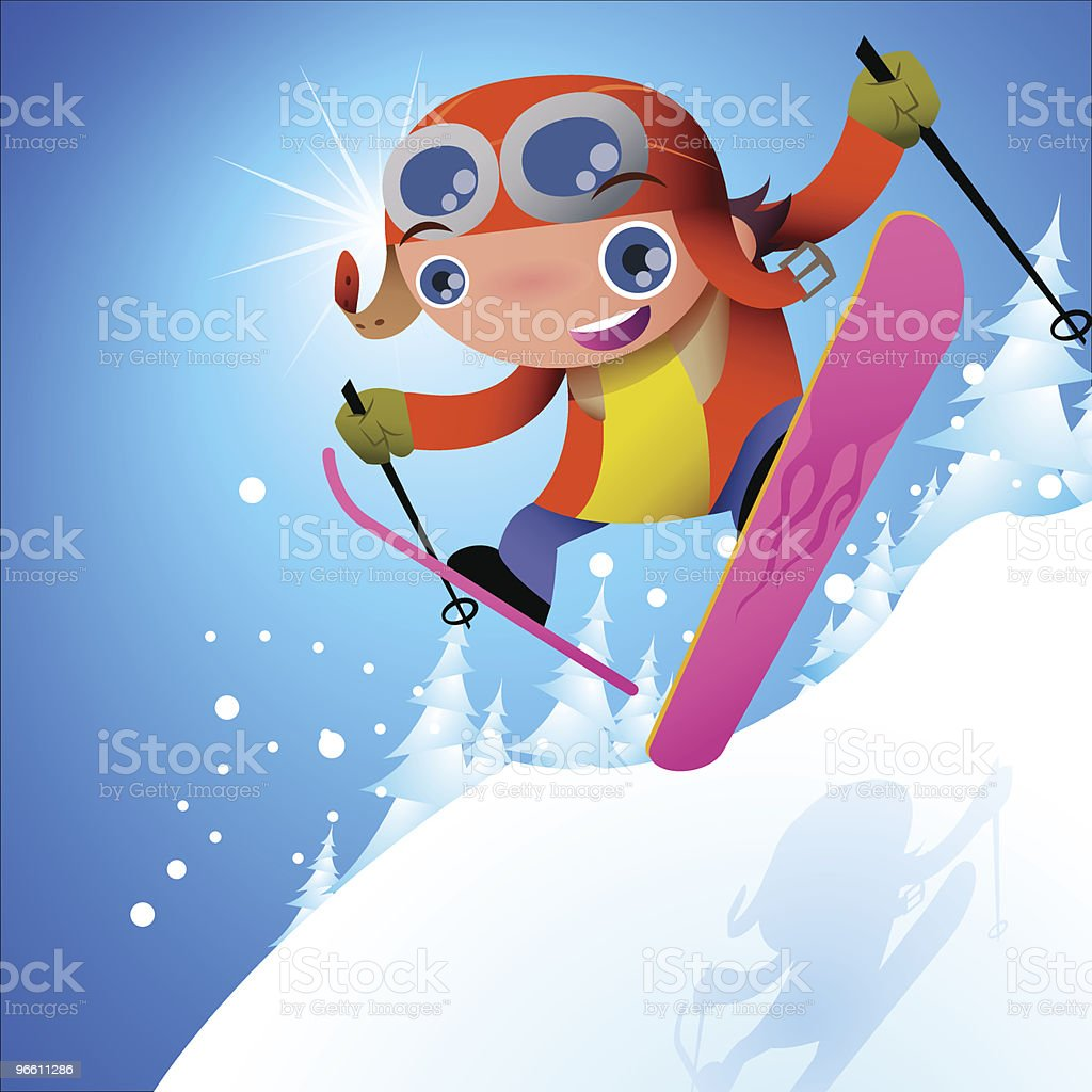 Pilots' Skier royalty-free stock vector art