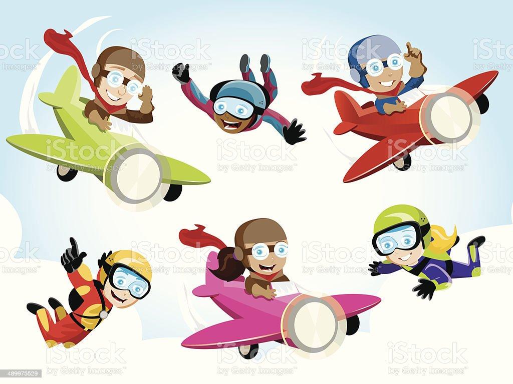Pilot/Skydiver Kids vector art illustration