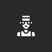pimp icon. Filled pimp icon for website design and mobile, app development. pimp icon from filled urban tribes collection isolated on black background.