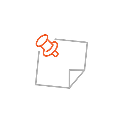 Pin and Note Paper Icon with Editable Stroke