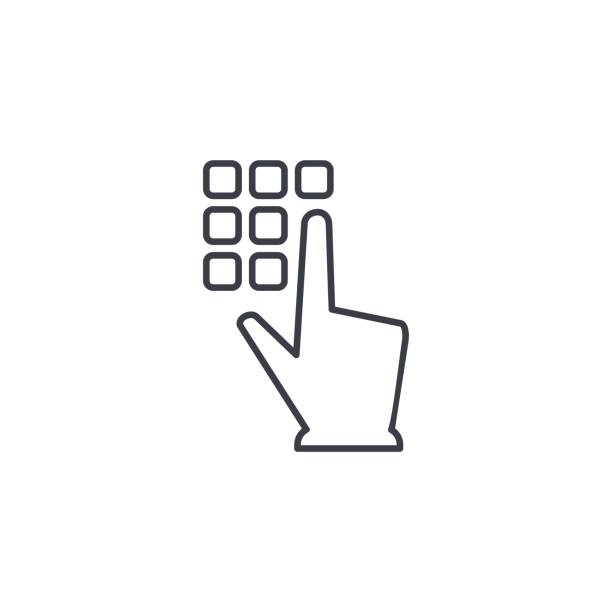 Pin code keypad, access security lock, hand pushing thin line icon. Linear vector symbol Pin code keypad, access security lock, hand pushing thin line icon. Linear vector illustration. Pictogram isolated on white background enter key stock illustrations