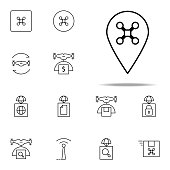 pin drone icon. Drones icons universal set for web and mobile