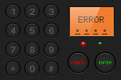 Pin enter display with number buttons and sign ERROR. Black plastic background. Vector illustration