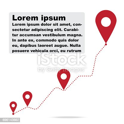Pin graph Infographic step way business position graph,pin icons dot line graph. Vector illustration