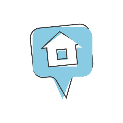 Pin home vector icon on cartoon style on white isolated background.