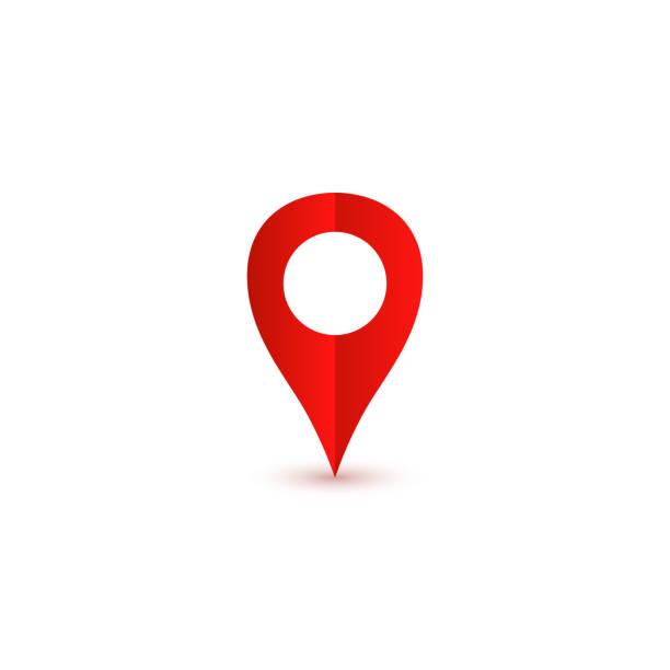 gölge ile kırmızı pin simgesi. konum simgesi. vektör illustration - google stock illustrations