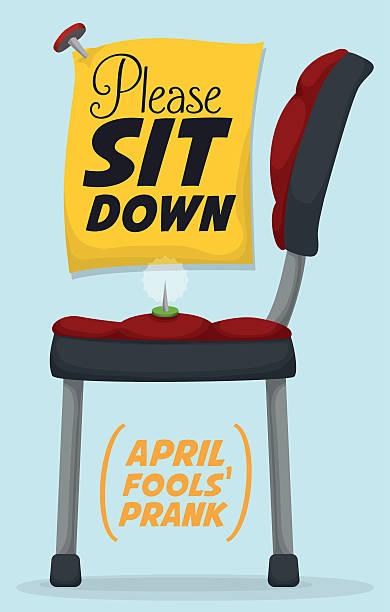 polig in stuhl streich für april fools'tag - nagelspitze stock-grafiken, -clipart, -cartoons und -symbole