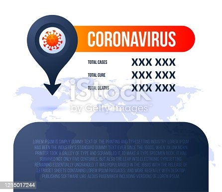 Pin location Covid-19 map confirmed cases, cure, deaths report worldwide globally. Coronavirus disease 2019 situation update worldwide. Maps and news headline show situation and stats background