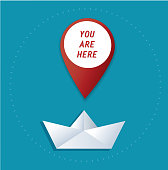 pin location icon on paper boat vector, the concept of travel