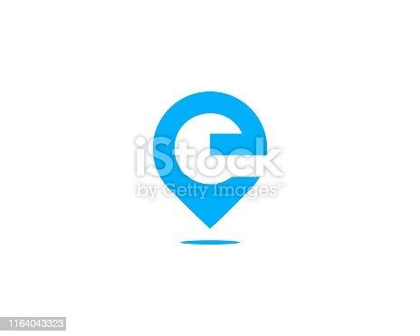 letter E pin location logo
