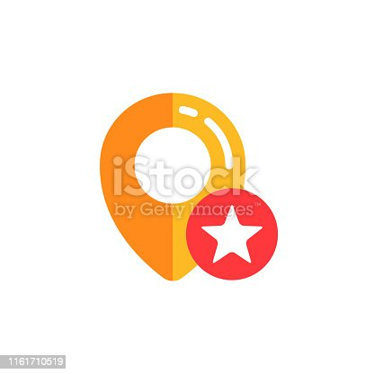 pin location with star icon vector design. pin map sign symbol designs