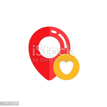 pin lof favorite ocation icon vector design. pin map with love shape sign symbol designs