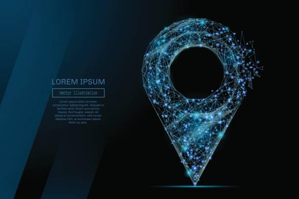 PIN low-Poly blau – Vektorgrafik