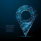 Abstract image of a pin in the form of a starry sky or space, consisting of points, lines, and shapes in the form of planets, stars and the universe. Vector wireframe concept.