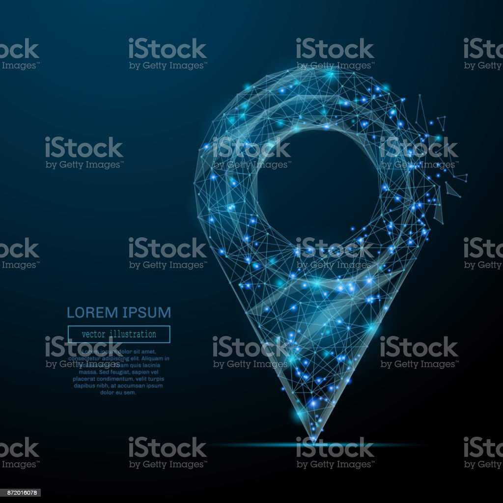 pin low poly blue vector art illustration