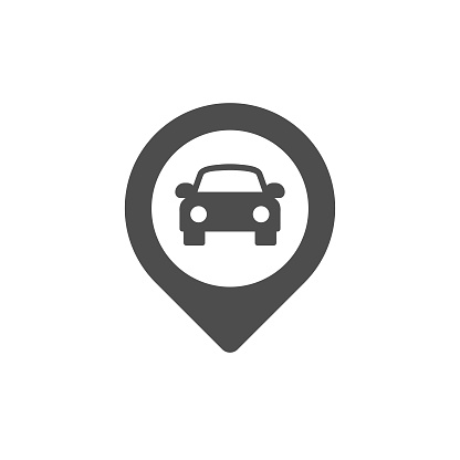 Pin Map Car Location Flat Icon