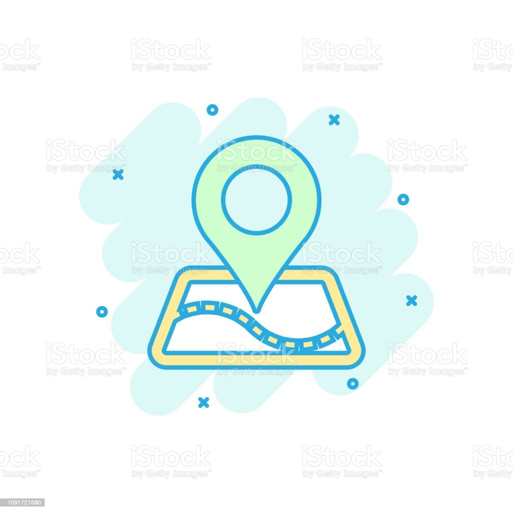 Pin Map Icon In Comic Style Cartoon Gps Navigation Vector