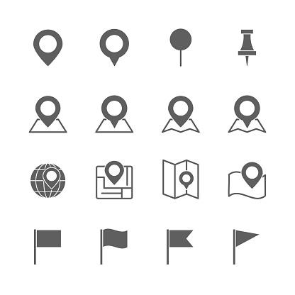 pin map icons set