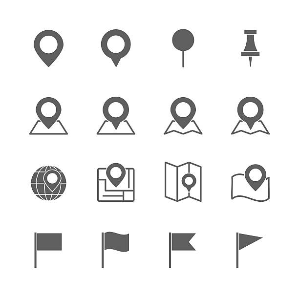 stockillustraties, clipart, cartoons en iconen met pin map icons set - orthografisch symbool
