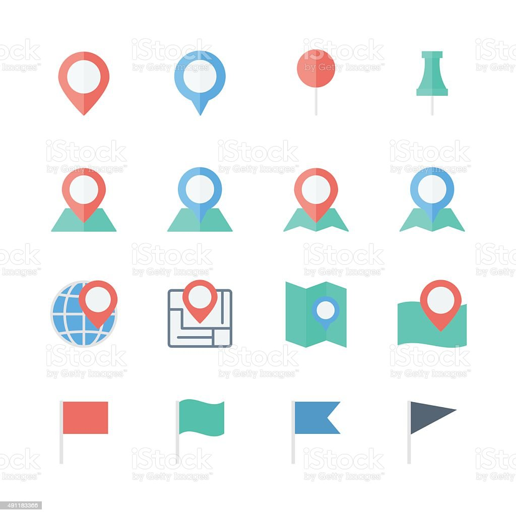 pin map icons set vector art illustration