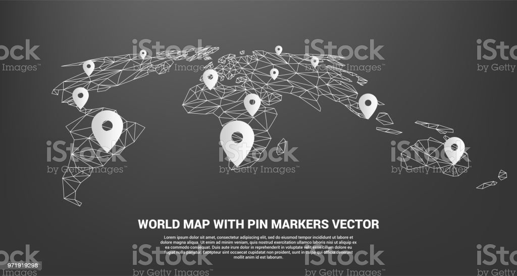 Pin marker with polygon world map perspective view stock vector art pin marker with polygon world map perspective view royalty free pin marker with polygon world gumiabroncs Images