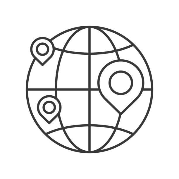 pin on globe, location or branch of business icon, editable stroke outline – artystyczna grafika wektorowa