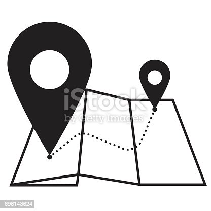 Pin on map line icon, Pin icon outline and solid vector illustration, linear pictogram isolated on gray