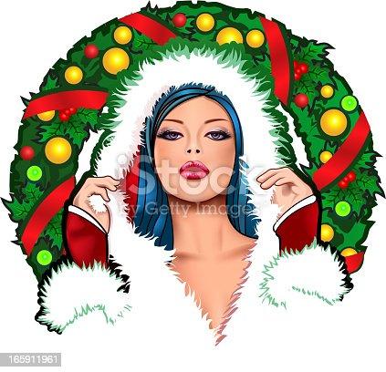 istock Pin up Christmas girl 165911961