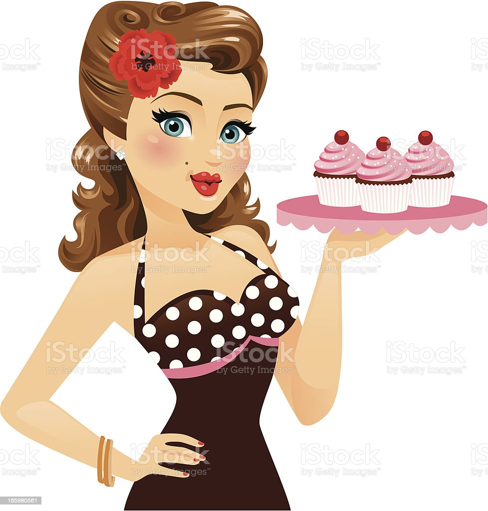 pin up girl holding cupcakes stock vector art more images of 1950 1959 165980561 istock. Black Bedroom Furniture Sets. Home Design Ideas