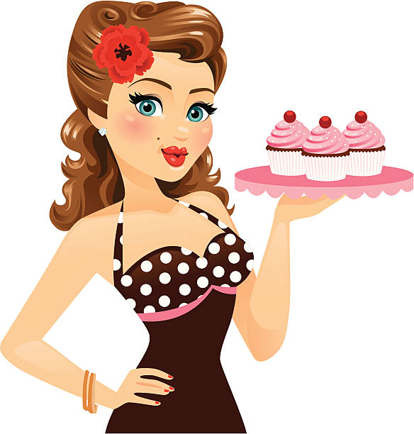 """Pin Up Girl Holding Cupcakes A beautiful pin up style girl holding cupcakes. Cupcakes and tray are on a different layer so pin up girl just has """"gesturing hand"""". Flower can be removed.  heyheydesigns stock illustrations"""