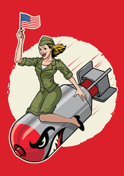 USA pin up  girl ride a nuclear bomb vector of USA pin up  girl ride a nuclear bomb pin up girl stock illustrations