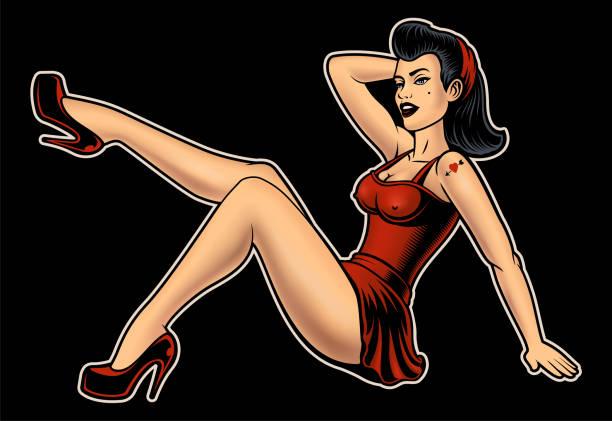 ilustrações de stock, clip art, desenhos animados e ícones de pin up girl - sensualidade