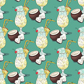 Pina colada cocktail pattern. Summer tropical fresh drink. Coconut, pineapple, ice, juice, cherry.