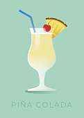 Pina Colada - Puerto Rico's national cocktail made with rum, pineapple juice, coconut milk, and coconut cream. The cocktail is garnished with a piece of pineapple or a cherry on top. Stock illustration