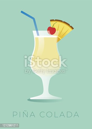 istock Pina Colada cocktail with a piece of pineapple and a cherry. 1212951211