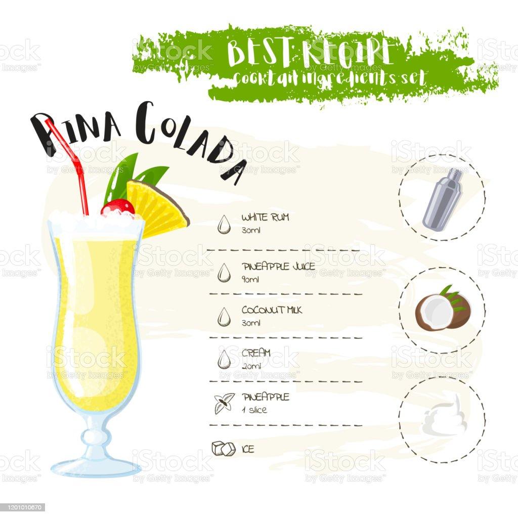 Pina Colada Bild Von Einem Cocktail Und Einer Reihe Von Zutaten ...