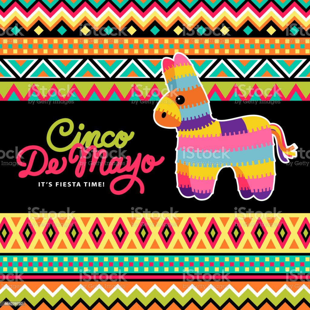 Pinata On Mexican Background vector art illustration