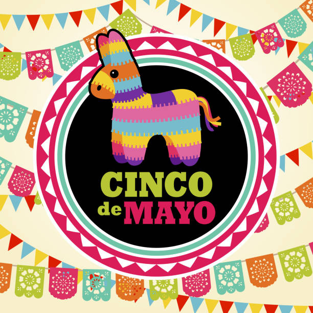 Pinata on Papel Picado Background Celebrate Cinco De Mayo with Mexican pinata on the colorful papel picado background cinco de mayo stock illustrations