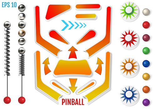 Pinball elements. Realistic set with different tools.