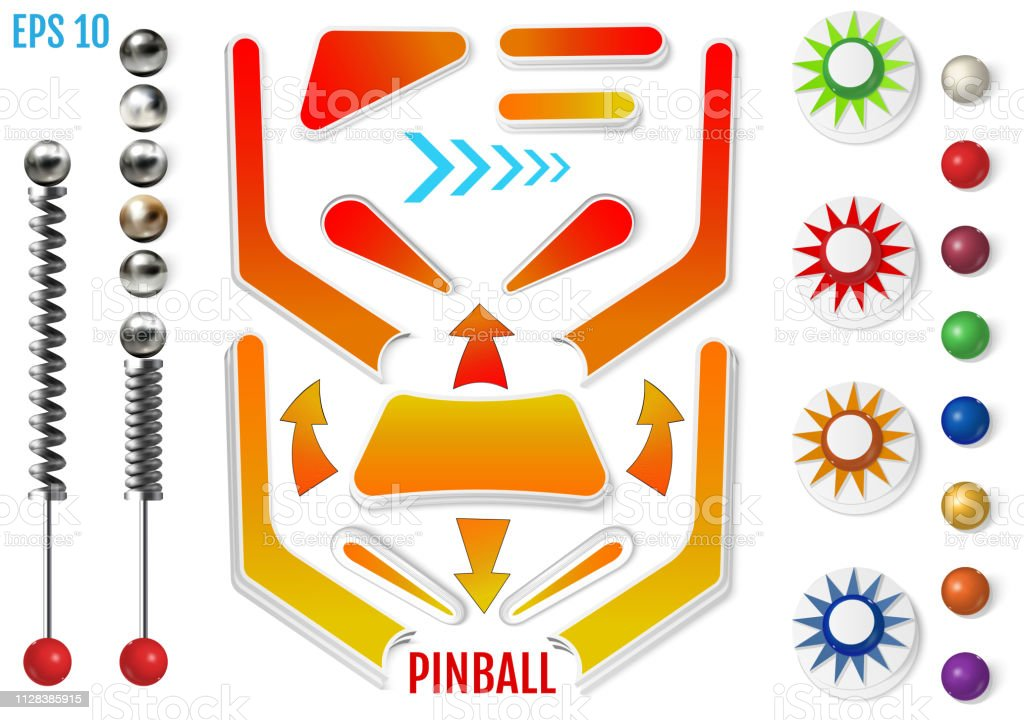 Pinball elements. Realistic set with different tools. vector art illustration